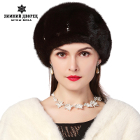 Real mink fur hats for winter women fur cap with diamond 2015 new fashion octagon mink fur beret Russia good quality elegant hat