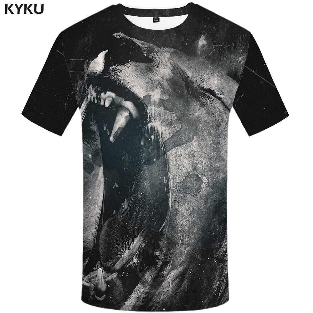 e84078bf2ae5 ... KYKU Lion T shirt Animal Mens Clothing Design 3d T-shirt Plus Size  Clothes Funny ...