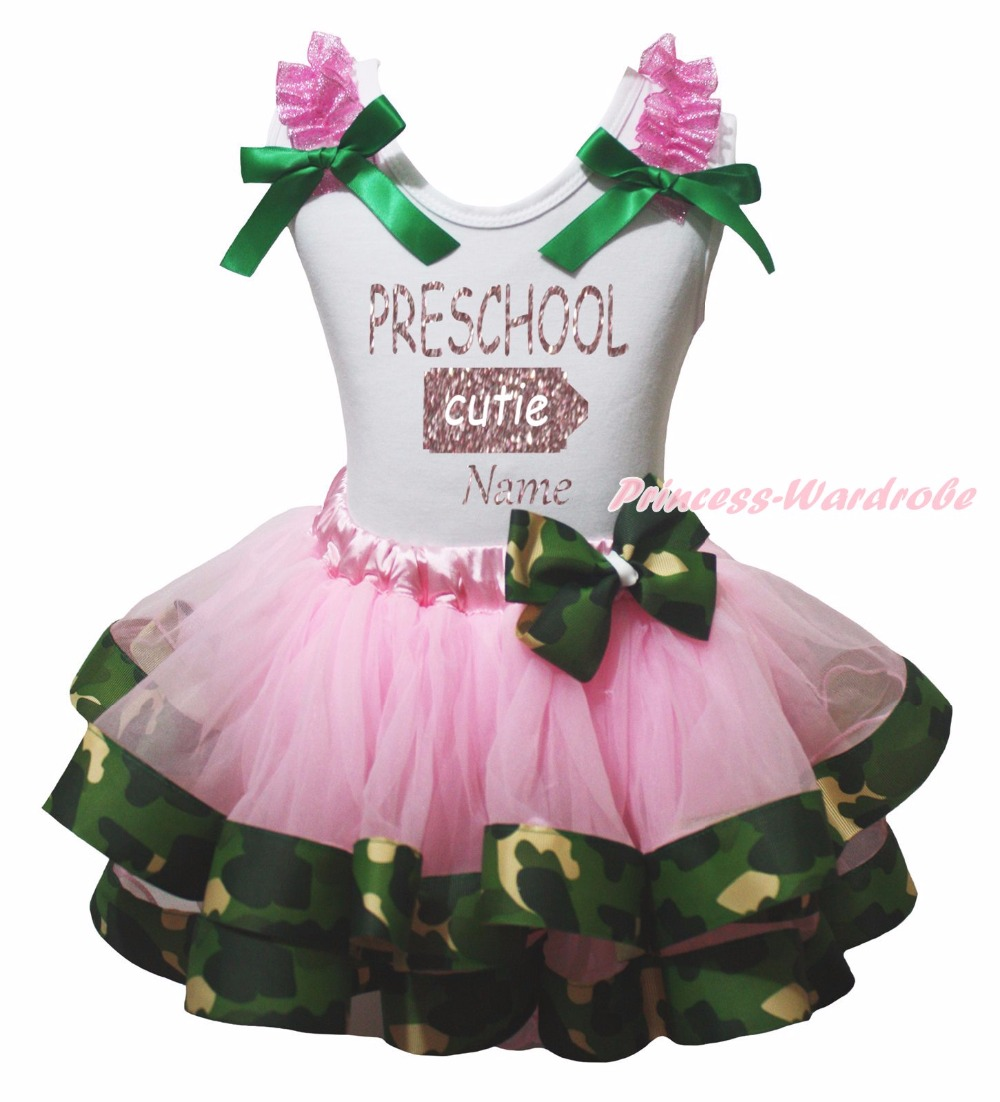 Personalize PRESCHOOL CUTIE White Top Pink Camouflage Satin Trim Girl Skirt 0-8Y rhinestone happy easter white top shirt hot pink bunny rabbit satin trim baby girl skirt set 1 8y mapsa0494