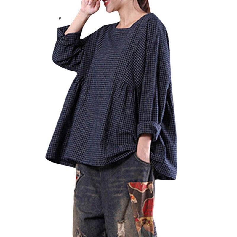 Laamei 2018 Autumn Blusas Tops Women Vintage Plaid O-Neck Long Sleeve Cotton Linen Casual Party Pleated Plus Size Blouse Shirts 1