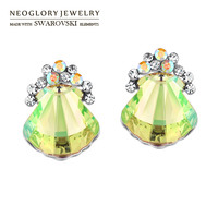 Neoglory MADE WITH SWAROVSKI ELEMENTS Crystal Auden Rhinestone Stud Earrings Shell Shape Gorgeous Style Jewelry