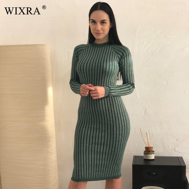 Wixra Warm and Charm Women Sweater Dress 2017 Fall Winter Long Sexy Lurex Bodycon Dresses Elastic Striped Skinny Knitted Dress