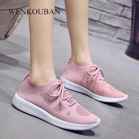 White Sneakers Women Vulcanize Shoes Summer Ladies Trainer Knitted Shoes Spring Flats Casual Lace-up Sock Shoes Zapatillas Mujer Lahore