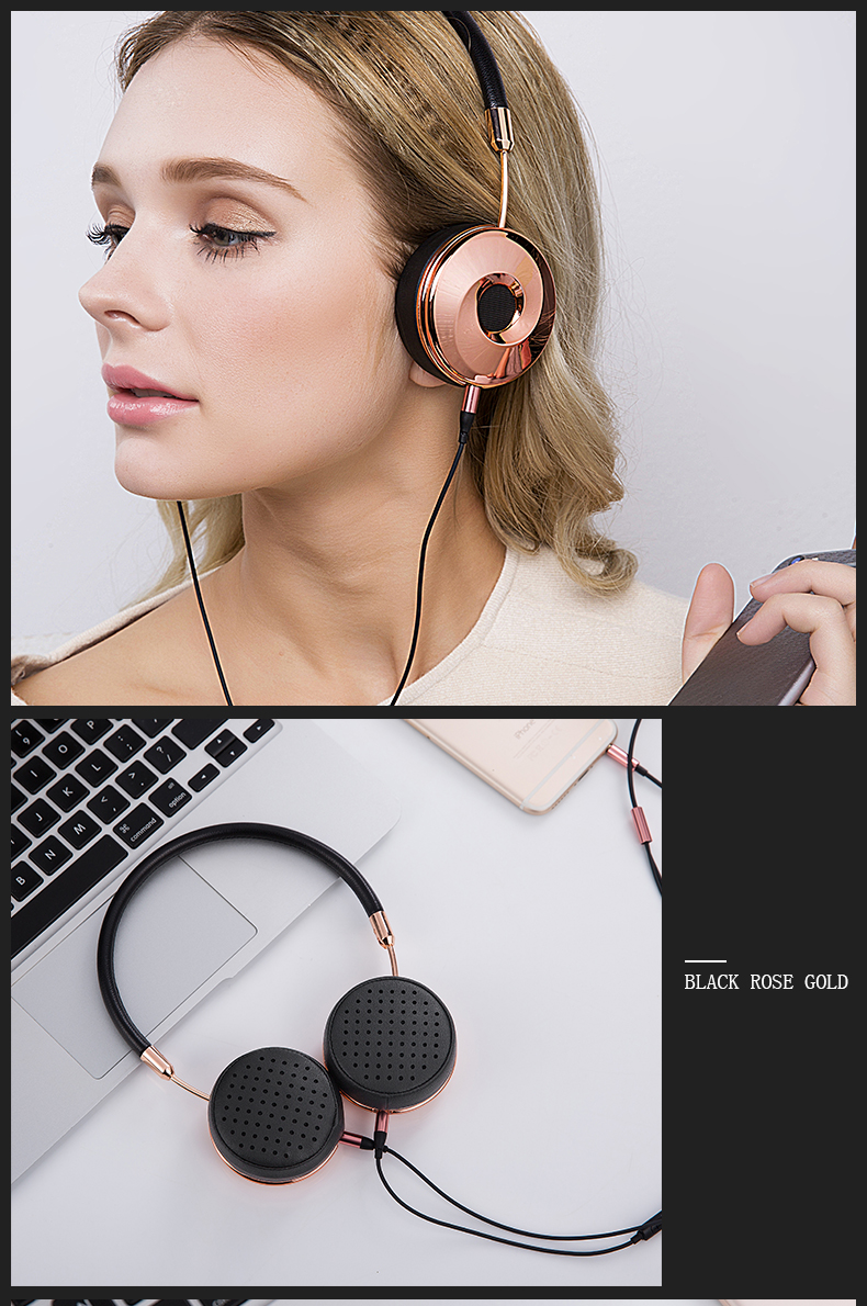 Liboer Headphones Wired On-ear Stereo Headphones for Mobile Phone Best Foldable Headset High Quality Rose Gold Headphone _17