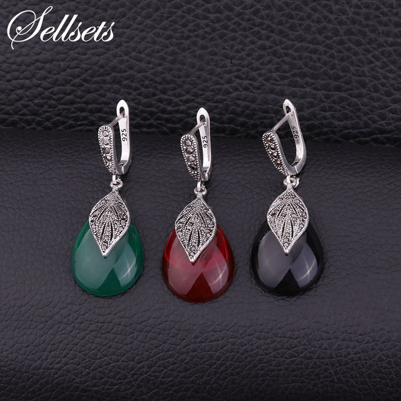 Sellsets Female Vintage Silver Color Leaf Earrings Pave CZ Rhinestone And Red Green Black Water Drop Resin Women Jewlery Gift a suit of vintage rhinestone leaf necklace and earrings for women page 3