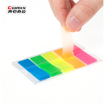Piękne fluorescencyjne tag wysokiej marka jakości kartki samoprzylepne notatniki tag zakładki papiernicze naklejki tanie i dobre opinie Comix D7034 Podkładki memo fluorescent tag Blue green yellow orange red Each color 20 sheets Total 100 sheets 5*44mm*12mm