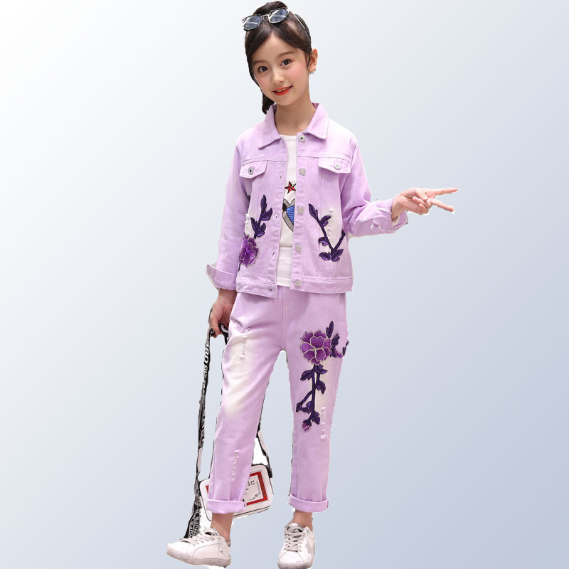 new childrens clothing girls autumn suit Korean denim two-piece spring and clothes tide