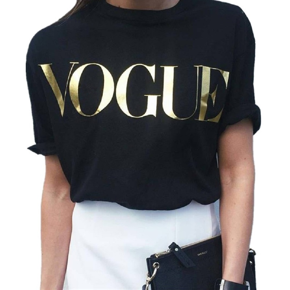 Drop Ship VOGUE Fashion Glod Shining Letter T shirt Women Simple Short Sleeve Femme Tops 5 Colors 5 Size NV08 P in T Shirts from Women 39 s Clothing