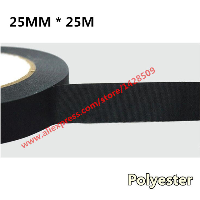 25mmx25m polyester nonwoven fabric electrical Automotive Wiring Harness Acetic acid cloth electronics tape polyeter bright tape use of acetic acid in endodontics
