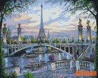 Eyfel Kulesi Paris Scenic Köprüsü Yağlıboya Çerçeveli Tuval Üzerine Sayılar Tarafından DIY Boyama Duvar Sanatları Resim Modüler Nordic Dekor