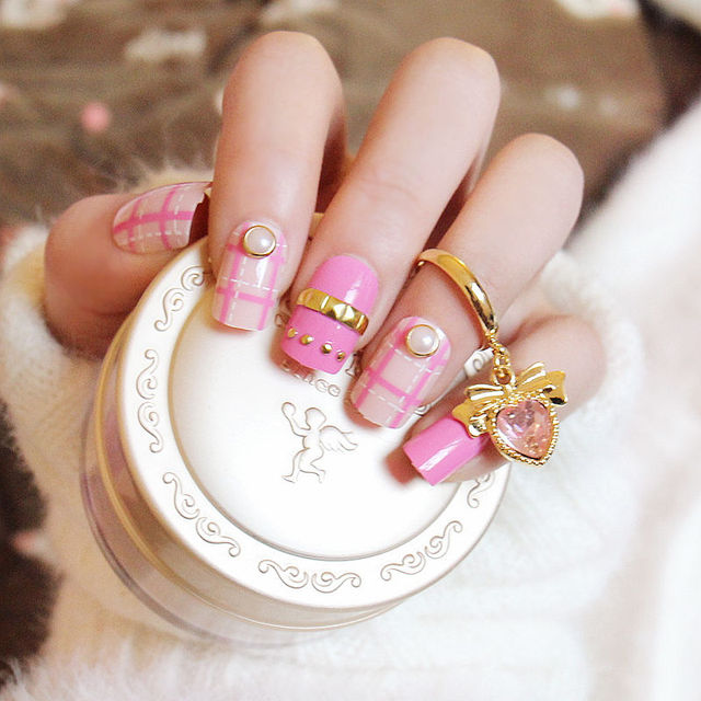 24pcs Rose Red artificial nails Golden Rivets Wedding Nails dashed ...