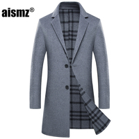 Aismz Winter Double Sided Wool Cashmere Overcoat Jacket Coat Men Business Casual Fashion Hand Sewn Long Coats casaco masculino