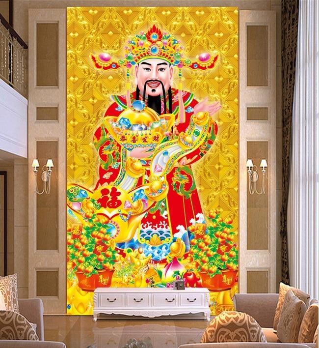 3d room wallpaper custom mural non woven wall sticker god of wealth
