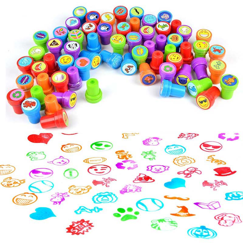 6/10pcs Rubber Toy Stamp Set Cute Cartoon For Scrapbooking Educational Drawing Colorful Toys Set For Kid Christmas Birthday Gift Rich And Magnificent