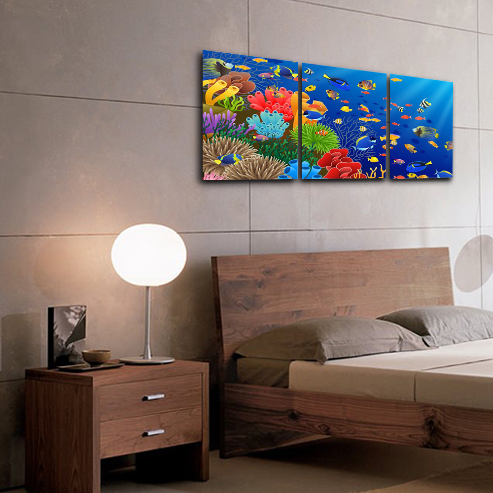 Laeacco Canvas Calligraphy Painting 3 Panel Watercolor Underwater Sea Fish Posters and Prints Wall Art Home Living Room Decor in Painting Calligraphy from Home Garden