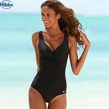 Hibkn Цельный купальник плюс размер 5XL однотонный Купальник Спортивный черный купальный костюм женский v-образный Вырез Монокини трикини купальники большой размер