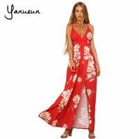 Yanueun Marque Femmes Robe longue Vente Chaude 2017 Automne Hiver Russe Style Imprimer Spaghetti Strap Robes Longues Floorlength Élégant