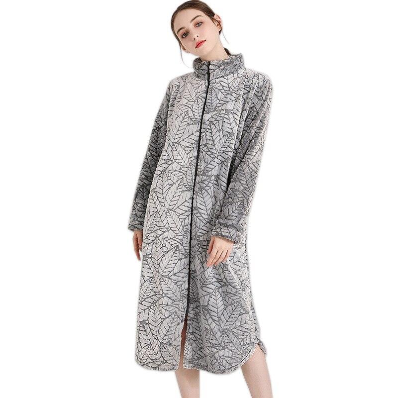 Fashion Coral velvet zipper sleep robes women sexy long sleeve thicken warm Quality simple women bathrobes