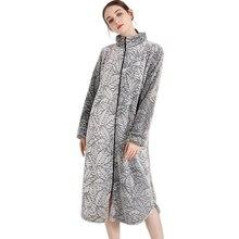 Moda coral veludo longo robes mulheres sleepwear sexy manga longa engrossar quente qualidade zíper roupões de banho feminino inverno quimono robes