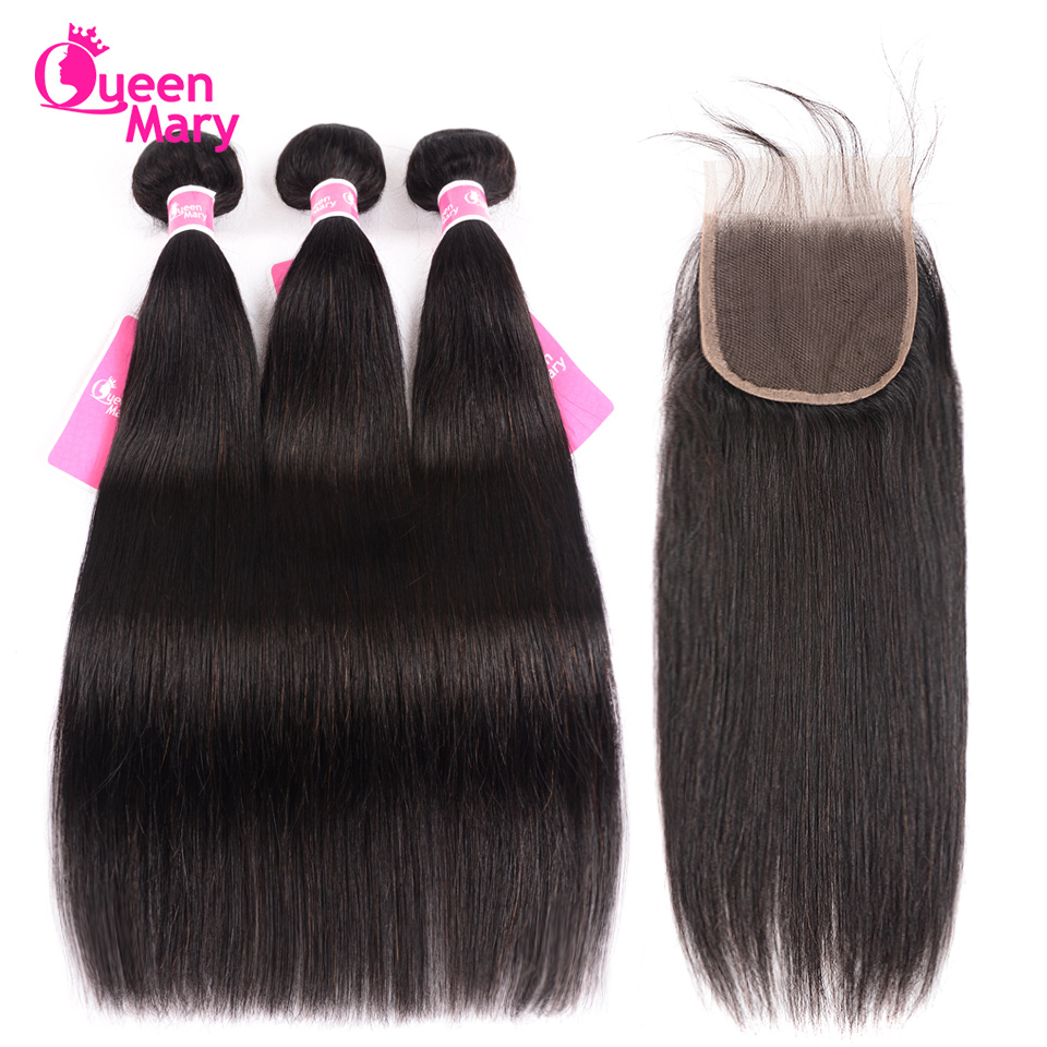 Peruvian Straight Hair Bundles With Closure Human Hair 3 Bundles With Closure 4*4 Lace Closure Queen Mary Non-Remy Hair Weaving
