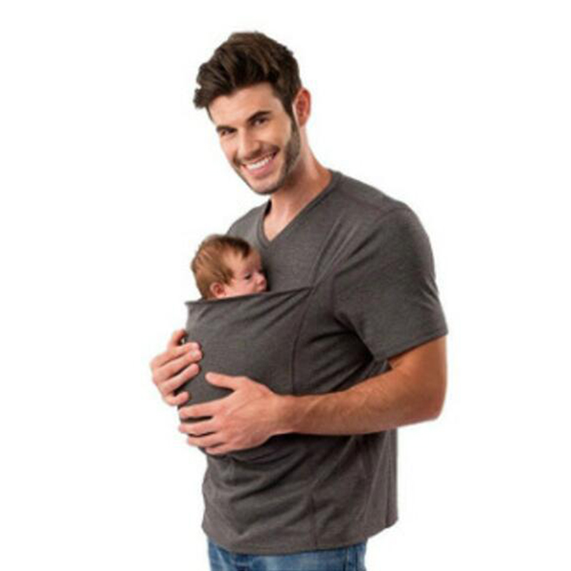 New 2018 Matching Family Clothing Kangaroo T-Shirt for Daddy Kangaroo Vest Shirt for Mummy Big Pocket with Baby T-shirt Tee