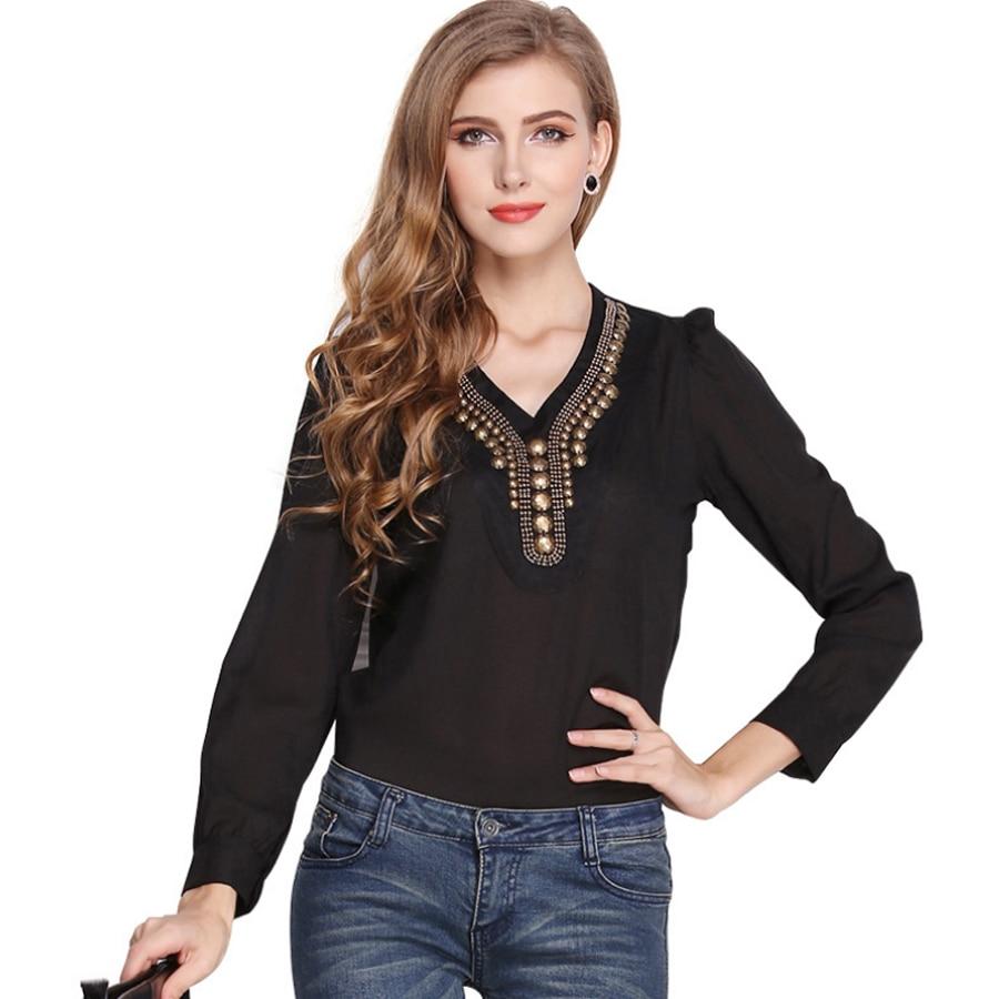 2018 Summer New Womens Chiffon Shirt Y Shirt V-Neck Solid Top Fashion Vintage Copper Long Sleeve 2 Chiffon Shirts S-XXL