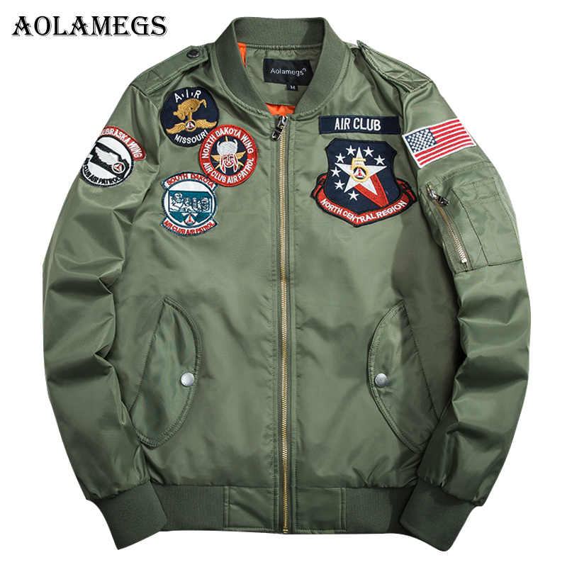 Thick cotton padded clothes air force pilot jacket couples MA1 charge embroidery badges popular logo clothing baseball jacket