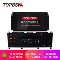 TOPBSNA 1 din Android 9.0 Car DVD Player For Mercedes Benz C200 C180 W204 2007 2010 Car Multimedia Player GPS Navi Car Radio RDS