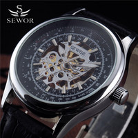 Sewor Luxury Watch Men Dress Leather Band Mechanical Automatic Wristwatch Silver Skeleton Watches Casual Male Business Colock