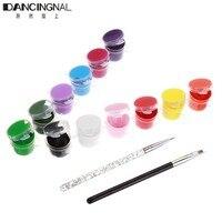 Professional 1 Set 12 Colors 3D Nail Art Pigment 2 Brush Pen Manicures Set Draw Painting