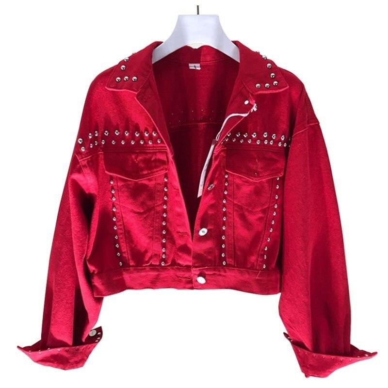 Spring Autumn Red Denim   Jacket   Coat Heavy Hand Beaded Rivet Short Black Jeans   Jackets     Basic     Jackets   Chaqueta Mujer Casaco NZY41