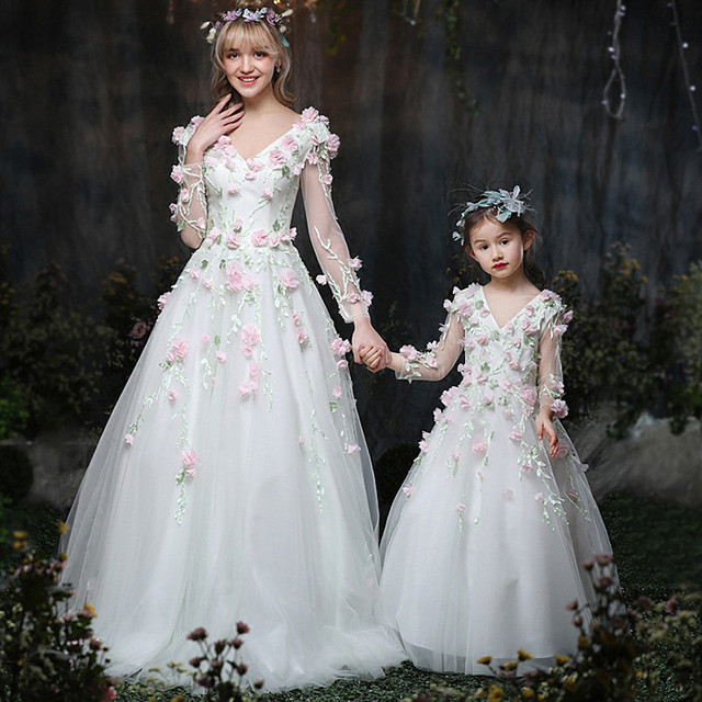 Designer Haute couture sparkly pageant dress Flower Mother daughter ...