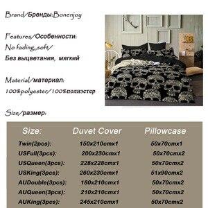 Image 3 - Bonlearn parure de lit de luxe, housse de couette noire, style Queen Size, sucre, crâne, King Size, 3D