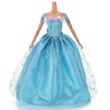 Blue Butterfly Floral Clothes Dress for Doll Multi Layers Dolls Lace Wedding Dresses Accessories(China)
