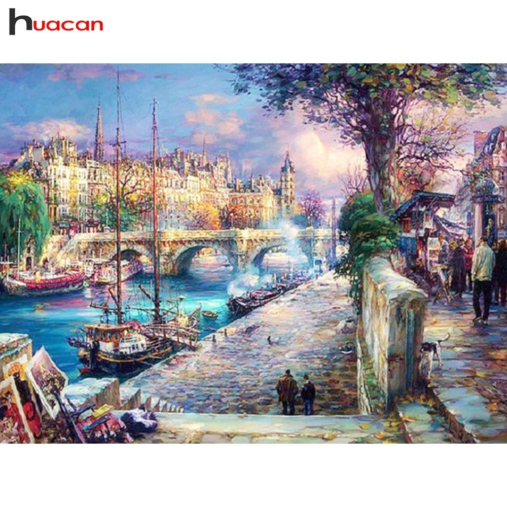 HUACAN 5D DIY Diamond Painting Landscape Diamond Embroidery Cross Stitch Town Full Drill Square Rhinestones Decoration Home