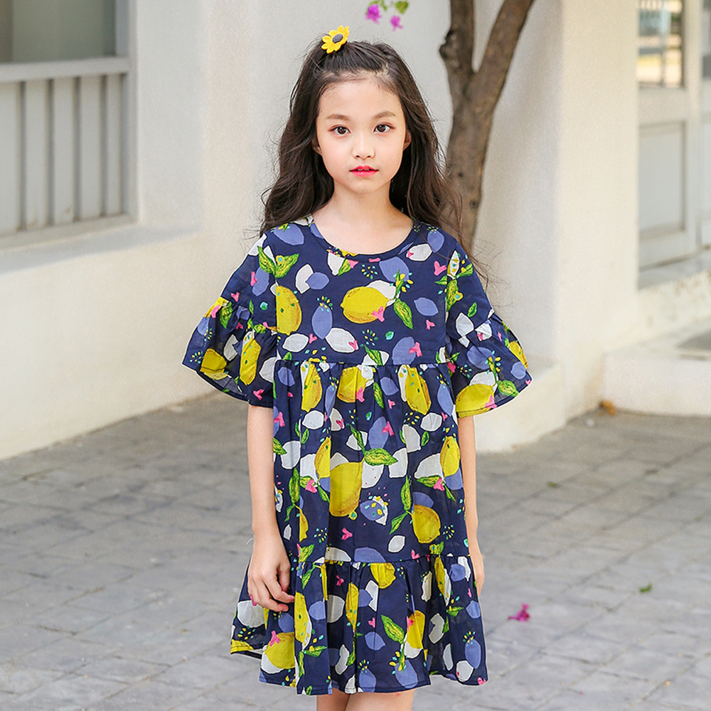 Big Girls Dress Summer Flare Sleeve Kids Girl Dresses Children Clothes Teenagers Clothes For 3 4 5 6 7 8 9 10 11 12 13 14 Years children s girls summer short sleeve sports suit clothes set for girl print clothing sets 4 6 7 8 9 10 12 13 14 years old