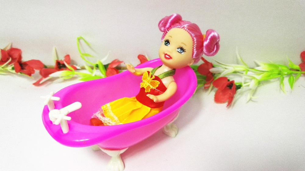 high quality cute red kelly doll baby bathroom bathtub barbie accessaries toy play house dec for. Black Bedroom Furniture Sets. Home Design Ideas