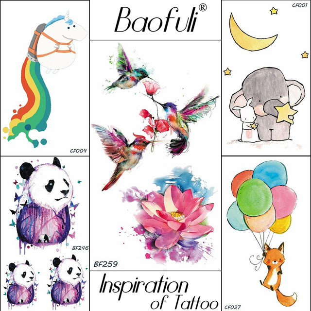 Aliexpresscom Buy Baofuli Rainbow Panda Watercolor Tattoo