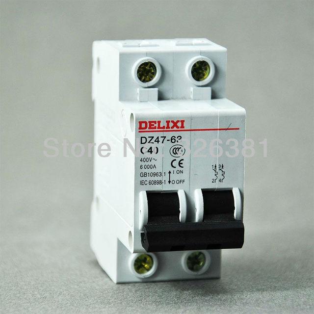 DELIXI Brand DZ47 63 C40 Type 2P AC 400V Circuit Breaker 16A 63A Air ...