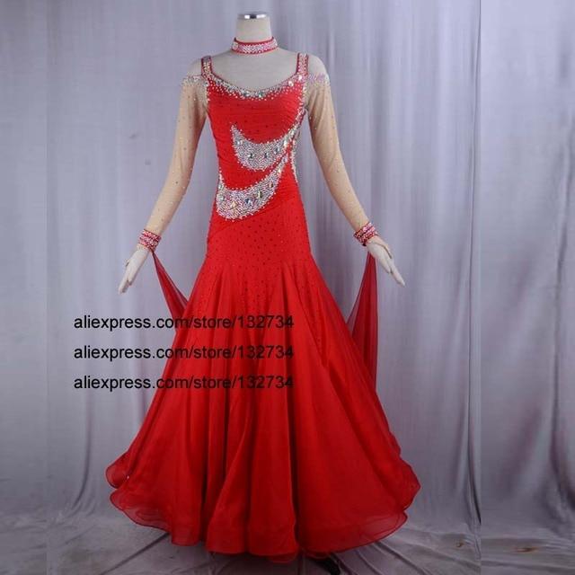 150a76de830 Robes de concours de danse de salon rouge
