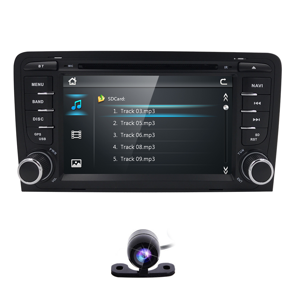 In stock Car DVD Radio Player for AUDI A3 2003-2011 S3 RS3 navigation BT Mirror link  Bluetooth USB Free back camera 8G TF cardIn stock Car DVD Radio Player for AUDI A3 2003-2011 S3 RS3 navigation BT Mirror link  Bluetooth USB Free back camera 8G TF card
