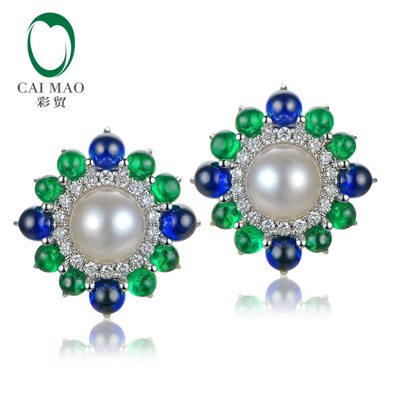 Caimao 18k White Gold Precious 6mm Round Akoya Pearl With Natural Sapphire Emerald and Diamond Earring Fine Gold Jewelry