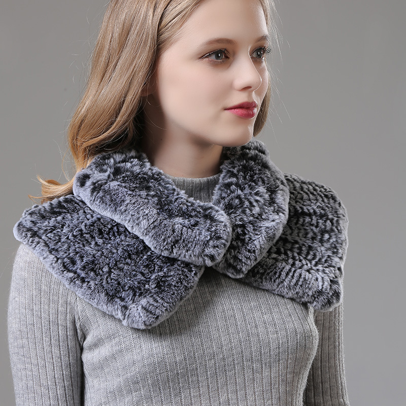 [Rancyword]  Women Wrap Winter Real Rex Rabbit Fur Shawls Wraps Female Natural Fur Collar Neck Warmer Scarf Scarves New RC1390