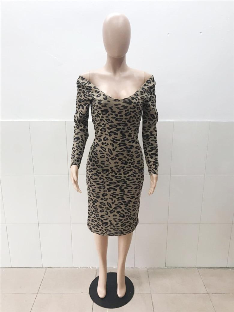 Casual Leopard Print Midi Dress Women Sexy Off Shoulder  Long Sleeve Bodycon Women Dress Night Club Party Dresses Vestido
