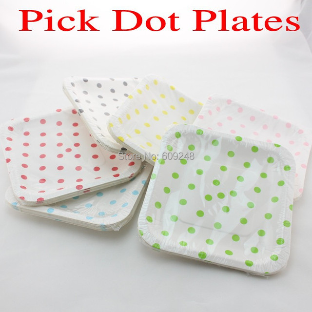 24pcs 7\  Mixed Colors Polka Dot Square Paper Plates Black Blue Red Green Yellow Pink  sc 1 st  AliExpress.com & 24pcs 7\