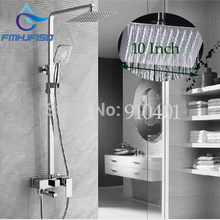 Wholesale And Retail Promotion Chrome Brass 10″ Rain Shower Head Faucet Tub Spout Mixer Tap Hand Sprayer Shower Column