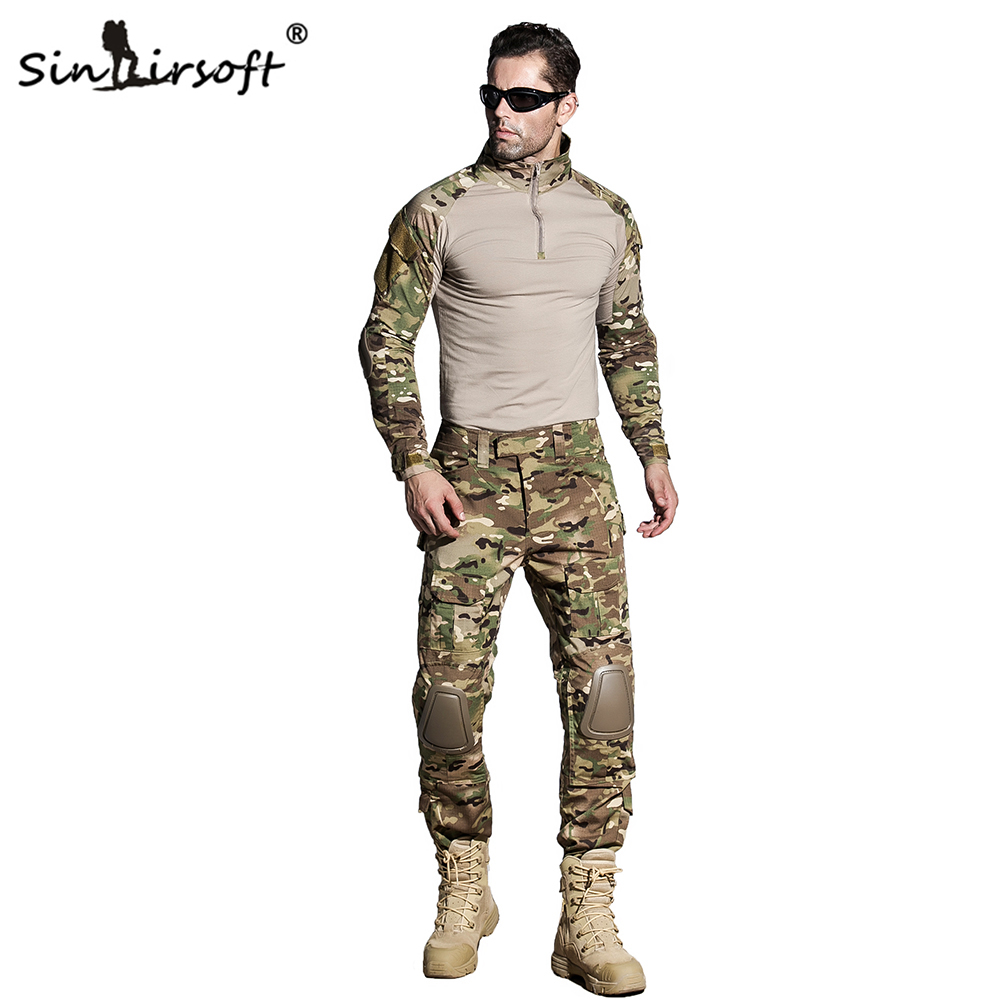 SINAIRSOFT Tactical Multicam Camouflage Military Uniform Clothes Suit Men US Army Clothes Combat Shirt + Cargo Pants Knee Pads camouflage tactical military clothing paintball army cargo pants combat trousers multicam militar tactical shirt with knee pads