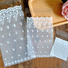 50pcs White lace Self Adhesive Party Bakery Bread Plastic Cookies Bags Gift Cellophane Bags Candy Bags Wholesale(China)