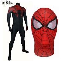 Линь bultez Высокое качество Новый Улучшенный Человек паук костюм черный, красный человек паук Костюмы супергероев концептуальные Хэллоуин К