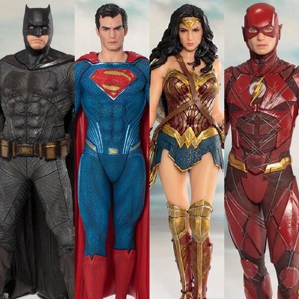 DC Liga Da Justiça ARTFX + ESTÁTUA Do Flash & Maravilha Mulheres & Batman & Superman & Ação Cyborg & Aquaman figura Modelo Brinquedos